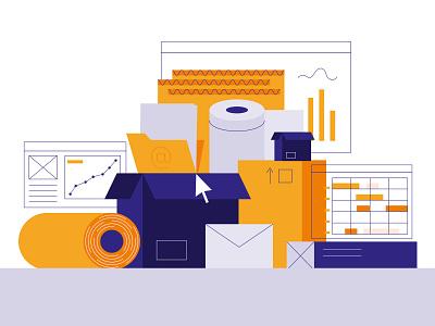 Packaging Software - Second version hustle line art illustration minimal flat browser analytics software boxes packaging