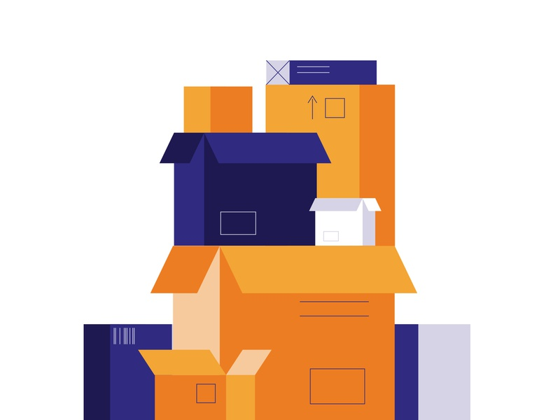 Minimal cardboard boxes composition storage post perspective flat line art illustration packing moving packaging cardboard boxes