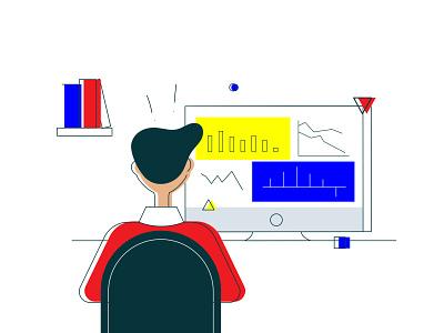 Desktop analytics computer character dashboard graph chart finance analysis data analytics line art primaries primary illustration flat