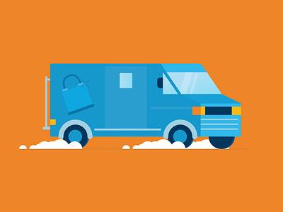 Security Van + Two invite codes perspective geometric hustle illustration vector flat padlock car driving vehicle van cash secutiry