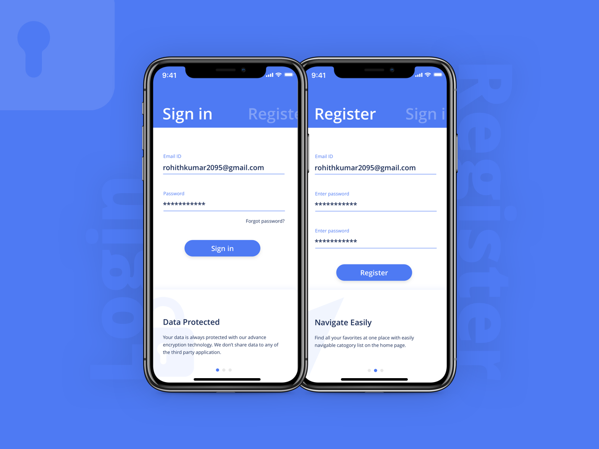 Login Page sign up screen app apple ios sign in page login