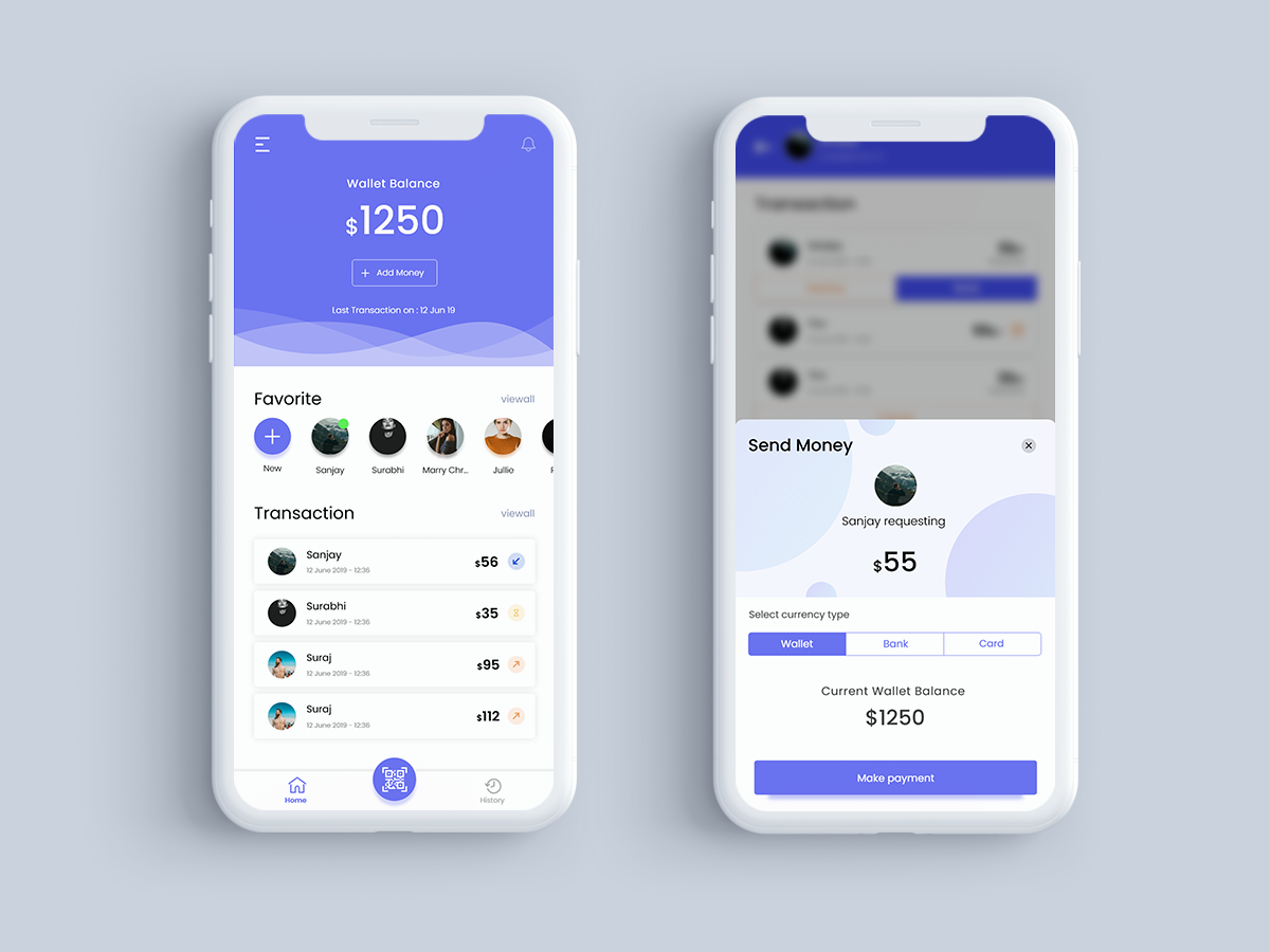 Payment app concept dribbble qrcode scan money user profile userinterface payment navigation bar camera typography vector ux icon apple design ios ui app