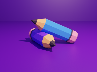Low Poly Pencil illustration art ux ui design low poly blender 3d illustration