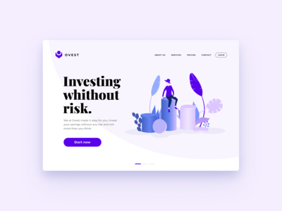 Investing Landing Page Design #01 | Banking Illustration