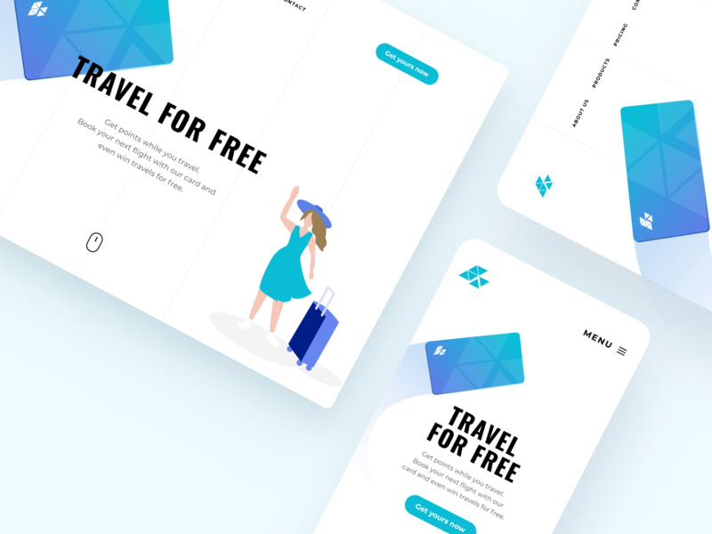 Modern Travel Card Responsive | Banking Illustration ux design ui design web web page vector figma sketch desktop mobile freebie digital ui ux illustration banking finances dashboard landing website app