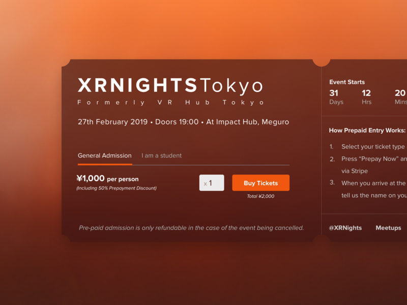 XR Nights Booking xr responsive design web design events ticket booking booking