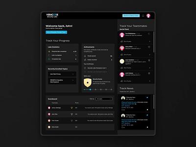 VERACODE - hands-on training platform for Secure Coding Gurus social feed scoreboard achivements learning platform dark mode skills levels dashboard ui
