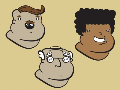 Heads illustrator chubby heads hipster afro grandpa