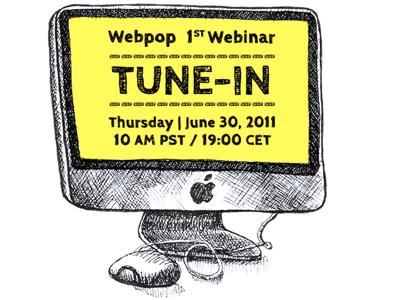 Webpop Webinar webpop cloud app cms livestream webinar live tutorial ink illustration pen yellow learning imac