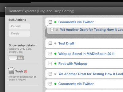 Content Explorer Comp webpop cloud app cms live content browser trash drag-and-drop