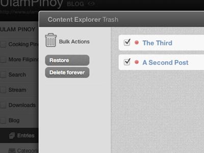 Content Explorer Trash webpop cloud app cms live trash