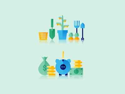 Gardening and Finance Icons vector finance gardening icon illustration