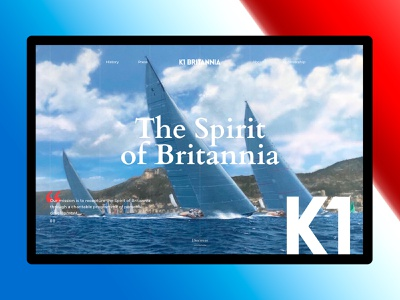 K1 Britannia yacht site ship yachting interface interactive website design ux ui