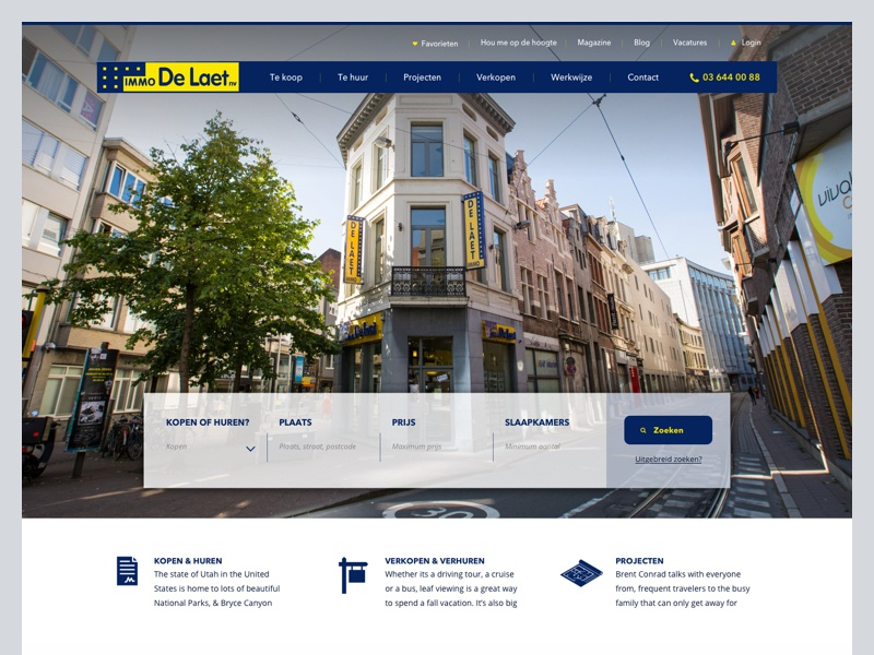 Immo De Laet immo de laet real estate ui webdesign house homepage