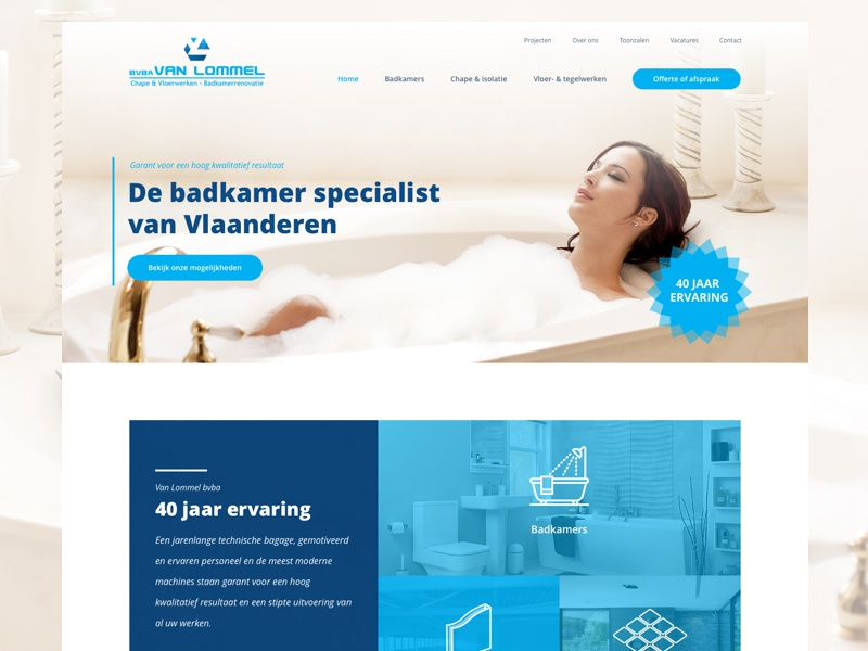 Van Lommel shower bathroom webdesign ui homepage