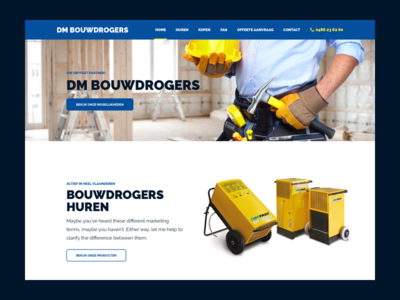 Dm Bouwdrogers rental building construction webdesign ui homepage