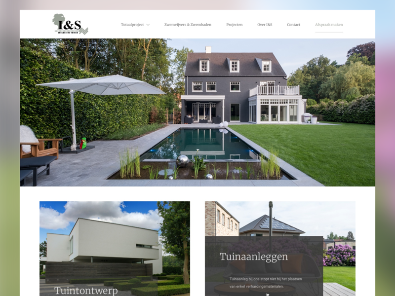 I&S Tuinen exclusive garden picture homepage webdesign