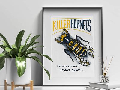 Killer Hornets Poster Illustration digital illustration procreate handlettering typography graphic design design print illustration