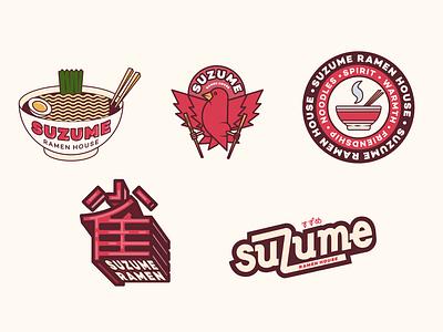 Suzume Ramen Badge Logos type icon logo illustration vector brand identity design graphic design typography branding
