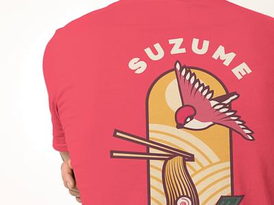 Suzume Ramen Red Shirt Design (Back) flat type illustration print vector brand identity design graphic design typography branding