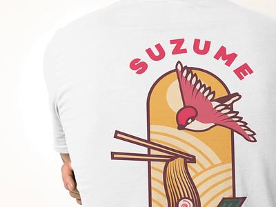 Suzume Ramen House White Shirt (Back) flat type illustration print vector brand identity design graphic design typography branding