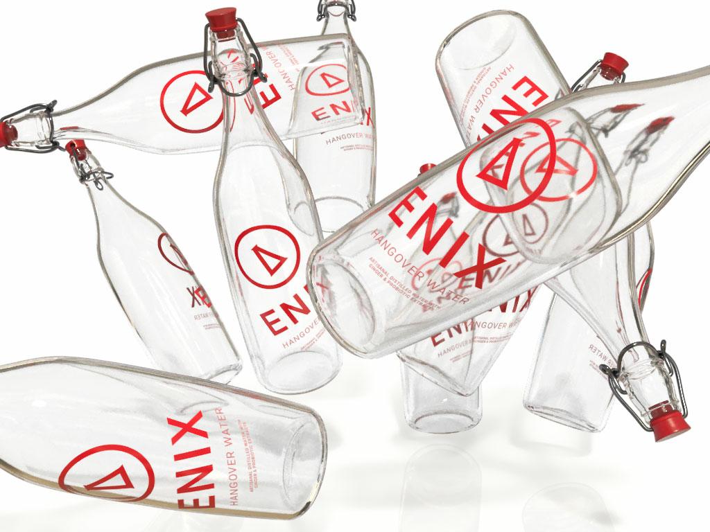 Enix Hangover Water - Strike, Front 3d branding adobe dimension
