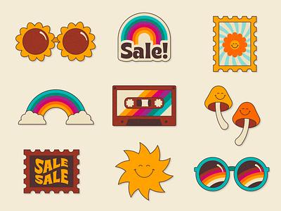 Retro Funk Sticker Collection character cute illustrator texture rainbow stamp sunglasses sun graphic design sticker hippie 80s 70s retro vector minimal illustration graphic flat design