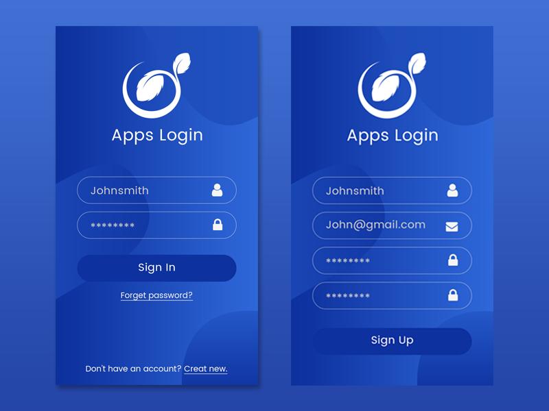 Apps Login Page by md sabuj mia on Dribbble