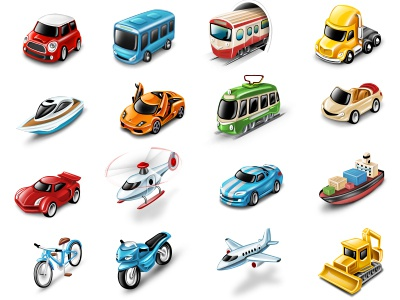 Transportation Icons (all in attachment) airplane helicopter ambulance bicycle boat cargo ship bus car engine train truck motorbike police taxi scooter ufo subway cabriolet air-baloon excavator mini-cooper lamborghini