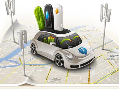 3G Car car modem antenna map