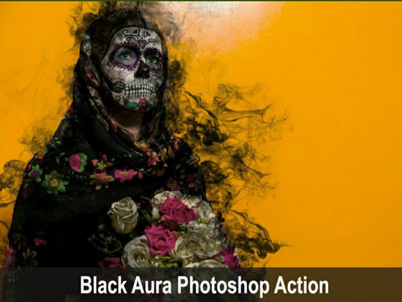 Amazing Black Aura Photoshop Action photoshop halloween viral trending aura action black graphicdesigner graphicriver envatomarket envato