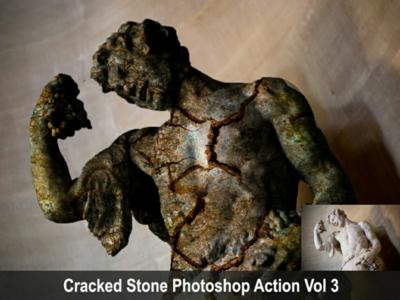 Cracked Stone Photoshop Action Vol 3