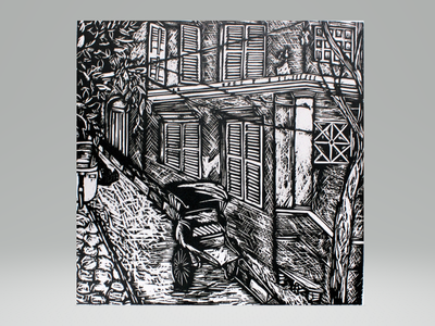 Old Calcutta Lane (b/w) colonial rickshaw architecture old street calcutta printmaking print woodcut