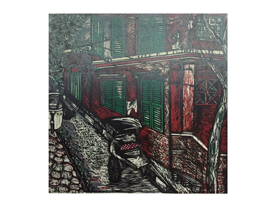 Calcutta Winter colonial rickshaw architecture old street calcutta printmaking print woodcut