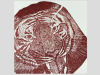 Tiger engraving (red)