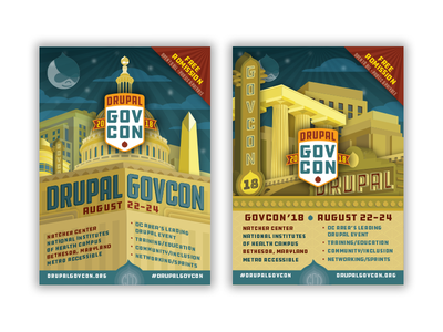Drupal GovCon 2018 Palmcards event conference print artdeco illustration branding promotion palmcard postcard
