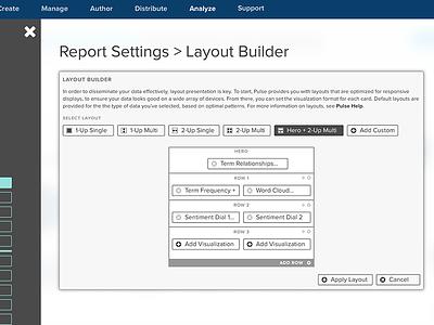 Layout Builder UI interface ui ux flyout navigation analysis dataviz data dashboard interaction