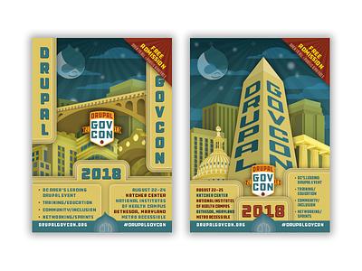 Drupal GovCon 2018 Palmcards event conference print artdeco typography illustration branding promotion palmcard postcard