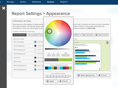 Appearance Settings UI interface ui ux flyout settings picker color appearance dataviz data dashboard interaction
