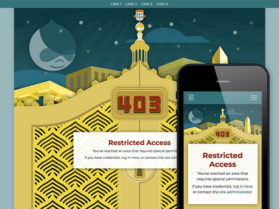 Custom 403 Page event conference mobile artdeco illustration branding responsive blocked 403 website