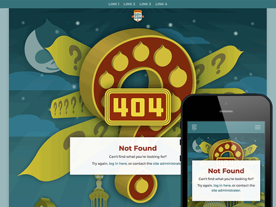 Custom 404 Page event conference mobile artdeco illustration branding responsive found not 404 website