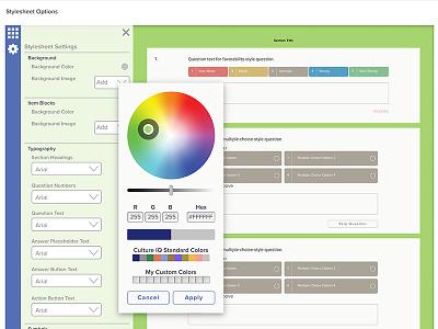 Survey Stylesheet Interface ixd flyout interaction dashboard customization application analytics data survey interface ux ui
