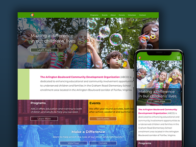 ABCD Website colorful website nonprofit rwd mobile ui ux