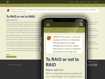 Tech Notes Blog Layout mobile text content ux ui blog responsive website