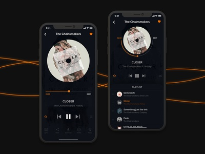 Music App playlist previous next pause play closer chainsmokers ps player mobile ui  ux music music app ui