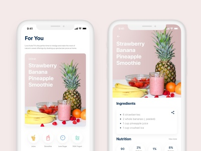Juice and Smoothie Recipes Exploration simple ui minimalist design exploration smoothies juice pastel color light uidesign