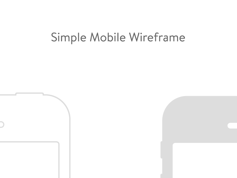 Simple Mobile Wireframe simple clean white gray brandon text outline line art illustrator iphone