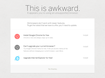 This is awkward. browser support notification alert chrome ie