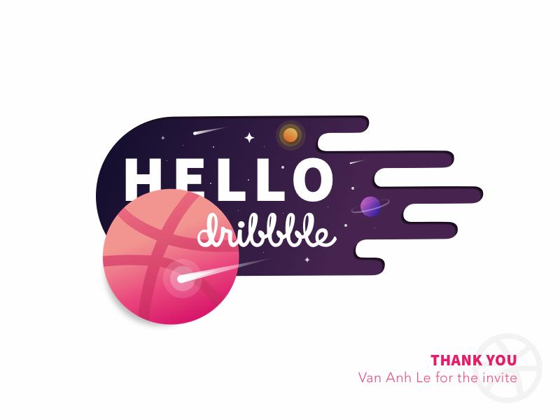 Hello Dribbble ! debut design first shot vector sun space planet meteor illustration identity gradient fantastic