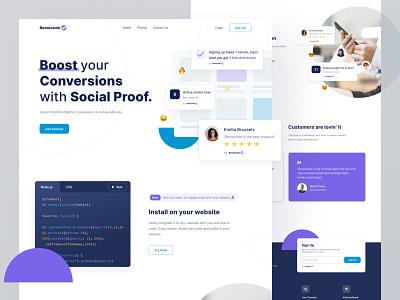 Social Proofing Landing Page design components cards ui social proof desktop website ui clean webdesign landing page